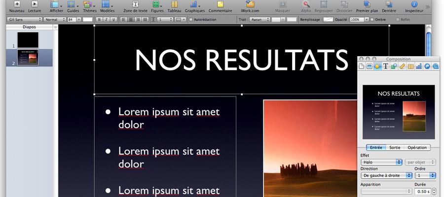 présentation sur Mac